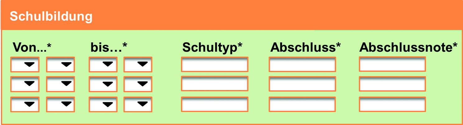 online formular in online bewerbung schulbildung - Wie Sieht Eine Online Bewerbung Aus